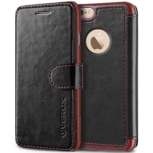VRS Design Apple iPhone 6S/6S Plus [Layered Dandy] PU Leather Wallet Case Black