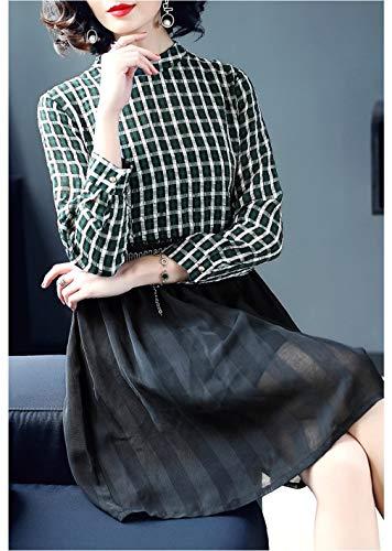 Verde Veste Lunga Womens Una Alta Linea Vestito Girocollo Si Manica Cotiledone Vita qnwU4R