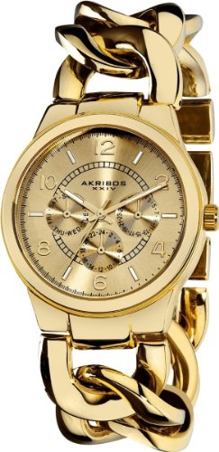 Akribos XXIV Women's AK531YG Ultimate Quartz Multifunction Gold-tone Twist Chain Bracelet Watch