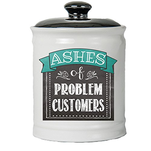 Cottage Creek Funny Gifts Ashes of Problem Customers Jar Round Ceramic Coin Bank/Decorative Piggy Bank Coworker Gifts [White]