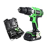 LANNERET CD18HL01 18V MAX 3/8'' Cordless Drill Driver Set with Two Lithium Batteries, 2-Speed Max Torque 398In-lbs, 13pcs Accessories Included, 1.5Ah Lithium-Ion Battery,BMC Packing