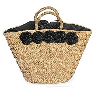 1aefb03f8 Bolso capazo de mimbre con pompones de color negro. Capazo de playa con  forro interior con ...