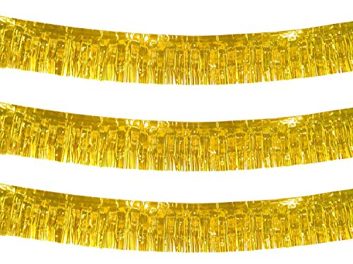 10 Feet Long Roll Foil Fringe Garland - Pack of 3 | Shiny Metallic Tassle Banner | Ideal for Parade Floats, Bridal Shower, Wedding, Birthday | Wall Hanging Fringe Garland