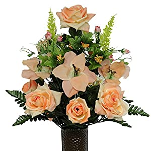 Peach Rose and Amaryllis Artificial Bouquet, featuring the Stay-In-The-Vase Design(c) Flower Holder (MD1104) 17