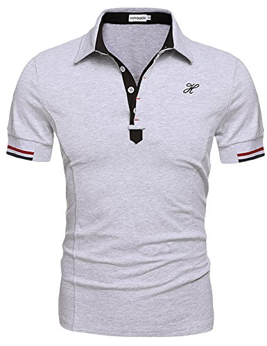 (Hotouch Mens Casual Button Up Polos Tee Tops Gray XL)