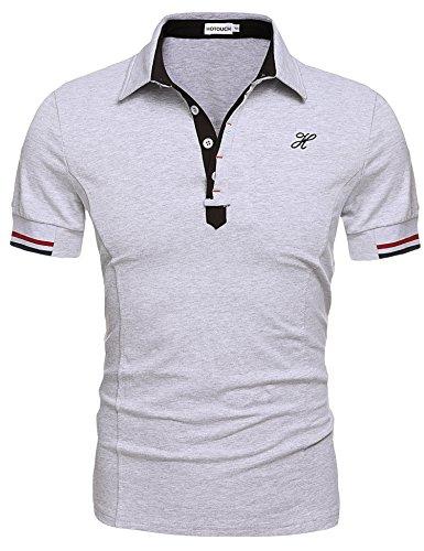 Sport Shirt Pique Sleeve (Hotouch Men's Fashion Sport Running Performance Short Shirts Tees Tops Gray XXL)