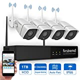 [Expandable System] Wireless NVR System, Firstrend 8CH 960P Wireless Security Camera System With 4pcs 1.3MP Security Camera and 1TB Hard Drive Pre-installed, P2P Home Video Surveillance System
