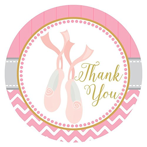 Ballerina Shoes Thank You Sticker Labels - Birthday Baby Shower Ballet Recital Party - Set of 30 (Dance Costumes For Kids Recitals)