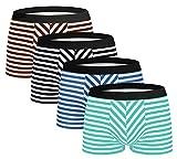 Men's Stripe Cotton Boxer Brief Underwear 4 Pack Original Shorts Green-Blue-Black-Brown Large
