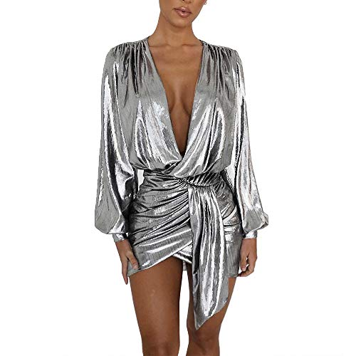 (Women's Sexy Club Dresses Outfits Party Night Gown Mini Dress Clubwear Glitter Silver)
