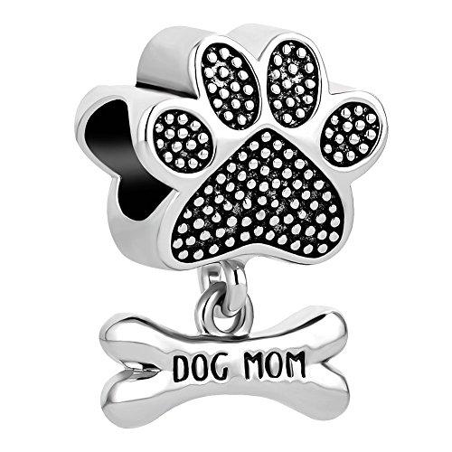 (ReisJewelry Dog Mom Charms Pet Paw Print Bone Animal Charm Beads for Bracelets (Silver Plated))