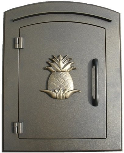 Qualarc MAN-1405-BZ Manchester Column Mount Mailbox With Decorative Pineapple Logo In Bronze by Qualarc