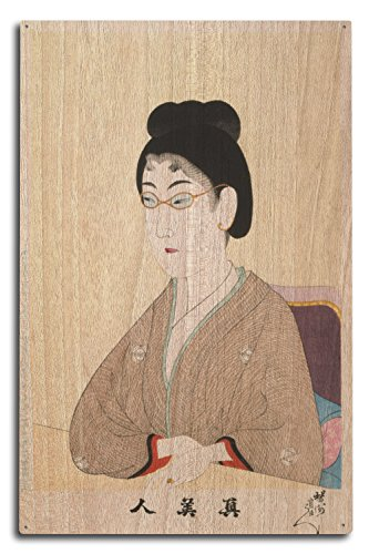 Lantern Press Woman Wearing Wire Spectacles Japanese Wood-Cut Print (10x15 Wood Wall Sign, Wall Decor Ready to ()