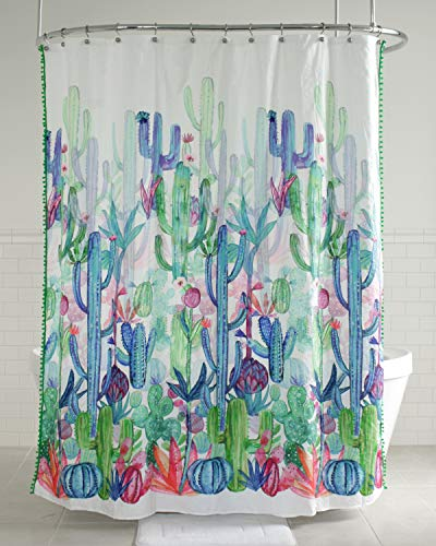 "Splash Home 7HGOBIC/FPMLTSPL Gobi Cactus Polyester Fabric Shower Curtain, 70"" x 72"", Multi Colors, Inches"