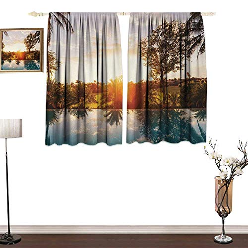 (guohua Hawaiian Insulated Room Blackout curtainHome with Swimming Pool at Sunset Tropics Palms Private Villa Resort Scenic ViewElegant Appearance W55 x L45 Orange Teal)