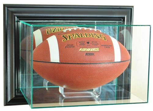 Football Wall Mounted Glass Display Case with Black Frame