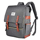 Puersit Vintage Laptop Backpack, Canvas College Backpack School Bag Fit for 15 Inch Laptop for Daily Use Teacher Students Travel