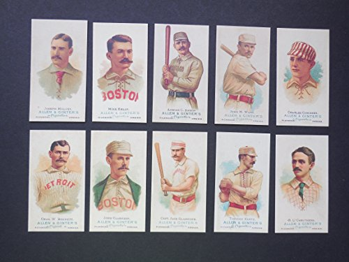 1887 Allen and Ginters (10) Take action Baseball Reprint Lot with Heros from the late 19th Century** Adrian C. Anson, Chas. W. Bennett, R.L. Caruthers, John Clarkson, Charles Comiskey, Capt.Jack Glasscock, Timothy Keefe, Mike Kelly, Joseph Mulvey, John M.