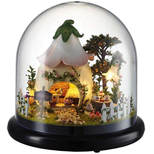 - Ogrmar Wooden Dollhouse DIY Glassball Kit With Led Light-Green Garden