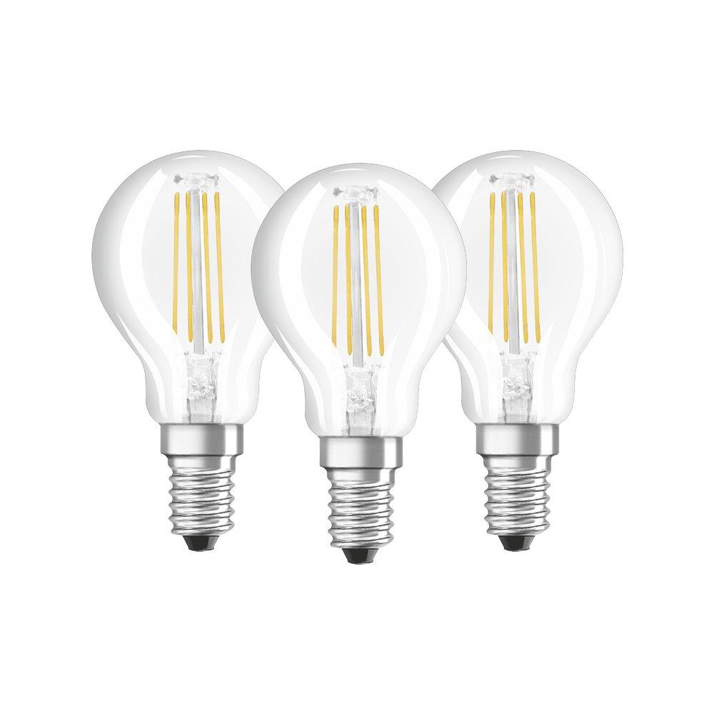 Osram Drop Shape Base Classic P Led Lamp, Glass, Warm White, E14, 4 W, Set Of 3