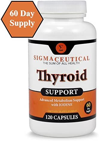 Thyroid Support Supplement - Iodine, Zinc & Selenium Supplement - Natural Weight Loss - 120 Capsules