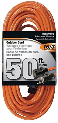 Rocky Mountain Cable Outdoor Extension Cord Orange 3 Prong - Heavy Duty Vinyl - 16/3 - Ultra flexible, Water resistant, flame retardant - Weather resistant - Reinforced for durability (50 -