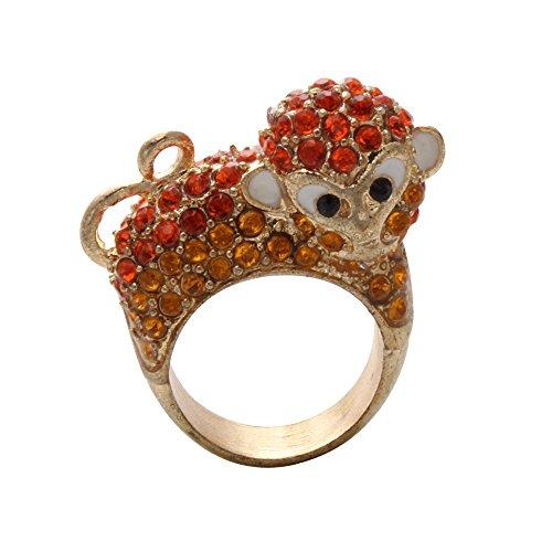 SenFai Fashion Jewelry Gold Plated Rhinestone Crystal Monkey Ring (6)