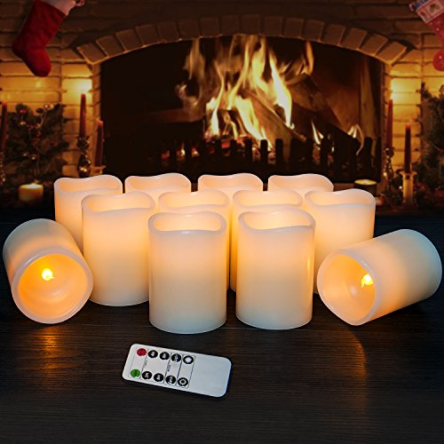 Hausware Flameless Candles LED Candles Set of 12 (D:3'' X H:4'') Battery Operated Candles Flickering Bulb Pillar Ivory Real Wax Electric Candles with Remote and Timer for Home Decoration … by Hausware (Image #2)