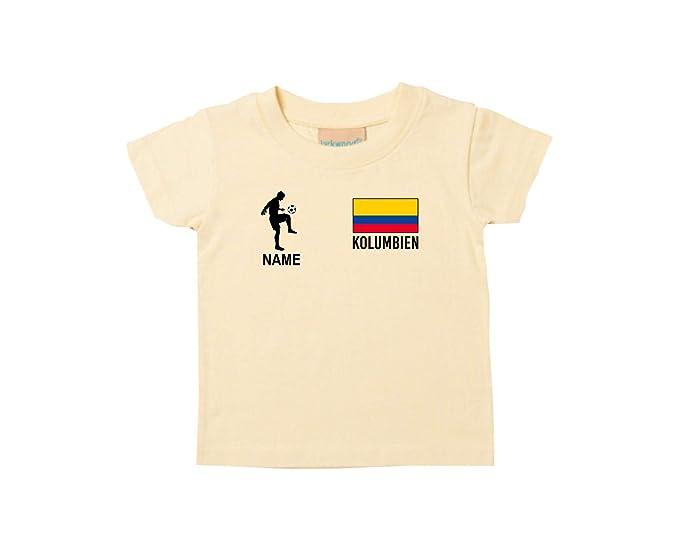 Shirtstown Kids Camiseta Camiseta de Fútbol Colombia con SU Nombre Deseado Estampado - Amarillo Claro,