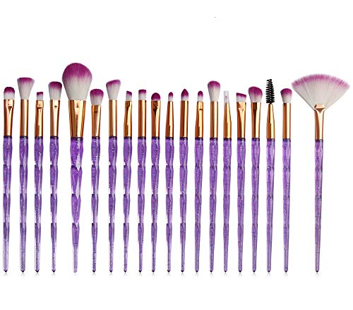 Kolight 20pcs Cosmetic Makeup Brushes Set Eyeshadow Lip Brush for Beautiful Female (bright purple)