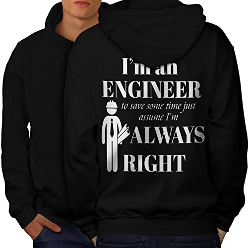 Engineer Occupations Mens Hoodie - wellcoda Gift for Engineer Mens Hoodie, Funny Printed on The Jumpers BackBlack M