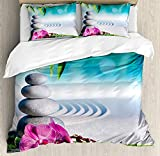CyCoShower Spa Decor Duvet Cover Soft Microfiber 4 Piece Bedding Cover Set Sand Orchid and Massage Stones in Zen Garden Sunny Day Meditation Print, Zipper Closure and Corner Ties