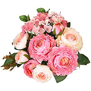 Sunm boutique Artificial Rose Flowers Bouquets, Silk Rose Bouquets with Hydrangea and Leaves as Floral Bouquets Decoration for Wedding Arrangements Table Centerpieces Kitchen Garden Party Home Decor 4
