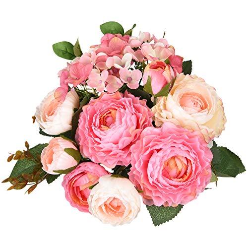 Sunm boutique Artificial Rose Flowers Bouquets, Silk Rose Bouquets with Hydrangea and Leaves as Floral Bouquets Decoration for Wedding Arrangements Table Centerpieces Kitchen Garden Party Home Decor (Easter Table Centerpieces)