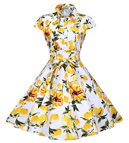Bi.tencon Women Vintage Lemon Floral Print A-Line Party Dress With Cap Sleeves M