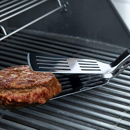 Yukon Glory Grip Tongs Spatula, Classic Spatula That Easily Flips Your Burgers and Food Like a Tongs, Durable Stainless Steel with Rubberised Easy Grip Handle