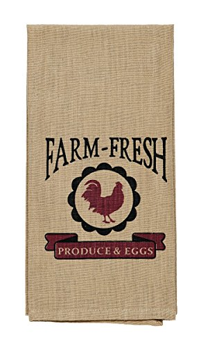 Olivia's Heartland Red Rooster Farm-Fresh Produce & Eggs Dishtowel - Country Farmhouse Kitchen Funny Dish Towels (Towel Country Dish)