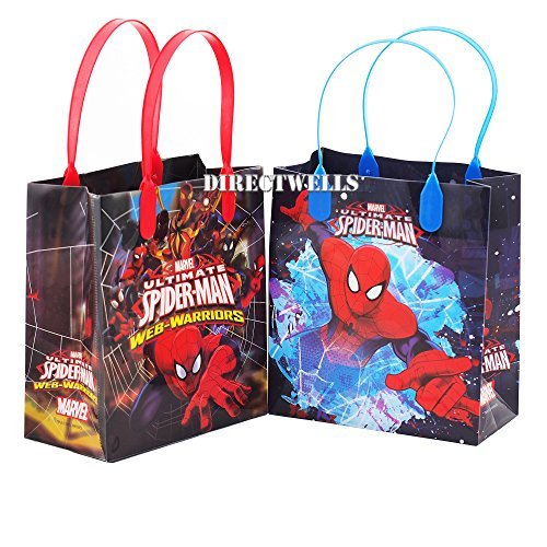 Spiderman 12 Premium Quality Party Favor Reusable Goodie Small Gift Bags ()