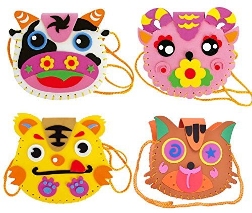 FYZ Brothers 4 Pcs Sewing Kit For Kids Sewing & Craft Kit Kids Sewing Projects Fabric DIY Crafts Purse (Craft Purse)