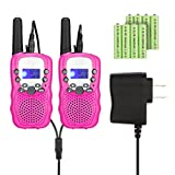 Kids Walkie Talkies with Rechargeable Battery , 22 Channel FRS/GMRS Two Way Radio Up to3KM UHF Handheld Walkie Talkies for Children (1 Pair) (Pink)