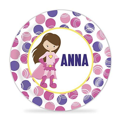 Superhero Plate - Pink Girl Superhero Melamine Personalized Plate
