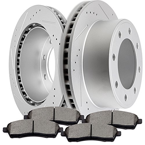 SCITOO Brake Kit Slotted and Drilled Discs Brake Rotors and Ceramic Pads fit 2000-2005 Ford Excursion,1999-2004 Ford F-250 Super Duty,1999-2004 Ford F-350 Super Duty -