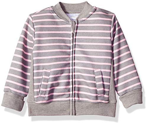 - Hanes Ultimate Baby Zippin Fleece Jacket, Steel/Pink Stripe, 12-18 Months