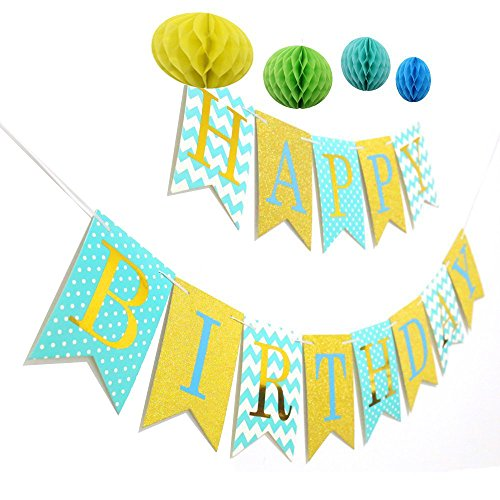 Yaaaaasss! Happy Birthday Banner Tissue Pom Pom Decorations Ball for Birthday Party for $<!--$6.99-->