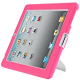 i-Blason ArmorBox Stand Series 2 Layer Kids Friendly Convertible Hybrid Protection Kick Stand Case for Apple iPad 2/3/4 (iPad3ArmorBoxStand-Pink/White)