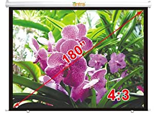 "Antra PSA-180B Electric Motorized 180"" 4:3 Projector Projection Screen Low Noise Tubular Motor (180"" 4:3, Matt White)"