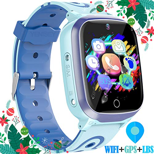 "Kids Smart Watches GPS Tracker - 12 Hrs Waterproof Smartwatch with 1.4"" Touch Screen WiFi GPS LBS Track SOS 2 Way Call Voice Chat Pedometer Health Fitness Watch Chirstmas Gifts for Boys Girls (Blue)"