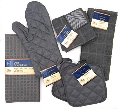 Kitchen Towel Set with 2 Quilted Pot Holders, Oven Mitt, Dish Towel, Dish Drying Mat, 2 Microfiber Scrubbing Dishcloths (Gray) ()