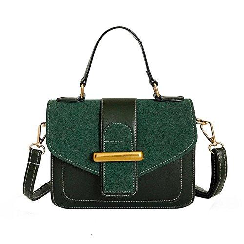 Owill Women Girls Exquisite Stylish Leather Shoulder Bag Messenger Satchel Tote Crossbody Bag Knitting Edge Handbag (Green) - Edge Leather Shoulder Bag