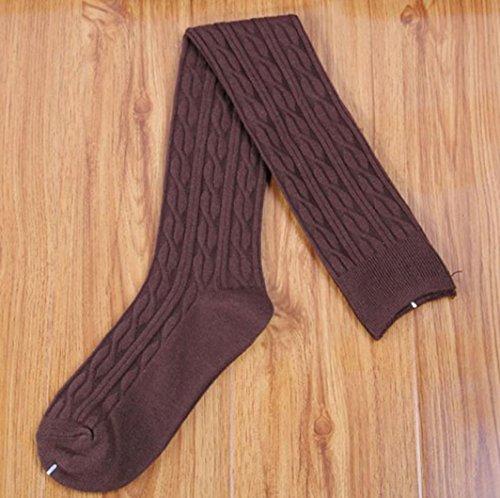 Women Knit Knee Boot Cotton Thigh High Socks Lot Leg Warmer Coffee pkZCM6yVQ